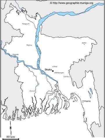 Carte du Bangladesh - Jacques MUNIGA